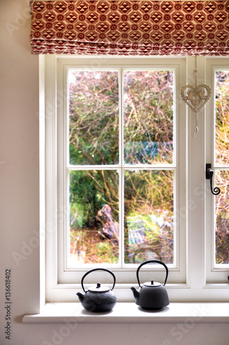 window with view of bushes - 136618402