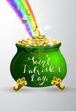 St Patricks day green pot with rainbow