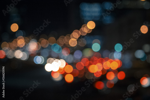 Plexiglas Las Vegas Colorful lights from cars in defocus, night, outdoor