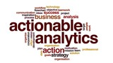 Actionable analytics animated word cloud, text design animation.