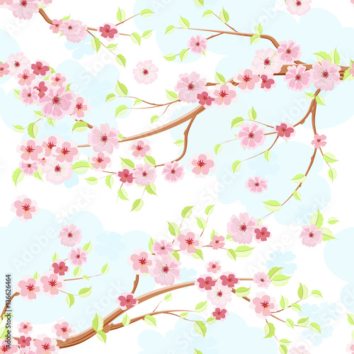 Cotton fabric lovely blossom of cherry. seamless texture for fabric