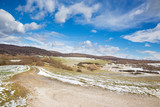 Slovakia - The road in the spring country of Silicka Planina plateau.