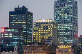 illuminated cityscape in Shanghai,China.