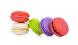macaroons or macaron on white background,
