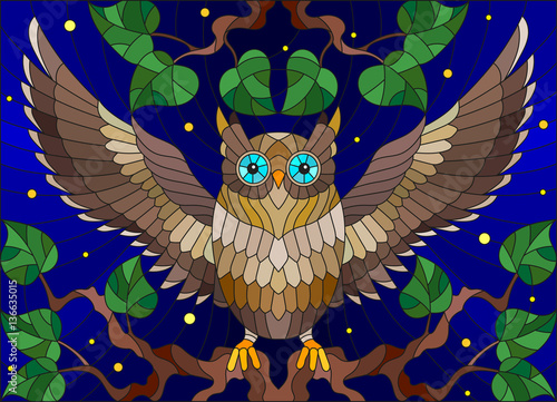 Illustration in stained glass style with fabulous colourful owl sitting on a tree branch against the starry sky