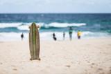A skateboard at the beach