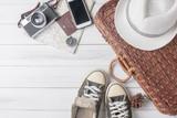 Travel accessories costumes. Passports, luggage, vintage camera