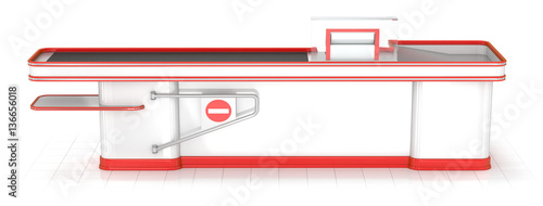 Checkout terminal and shopping baskets on white background. 3D illustration.