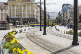 Traffic on the lions bridge in the center of Sofia.
