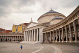 Naples moment. Street view in Piazza del Plebiscito with church of San Francesco di Paola, amazing historical place in Naples, Italy.
