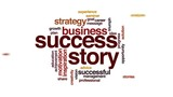 Success story animated word cloud, text design animation.