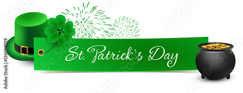 st patricks day - banner with leprechaun hat, shamrock, fireworks and a pot of gold