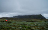 Red tent in vast landscape in Iceland