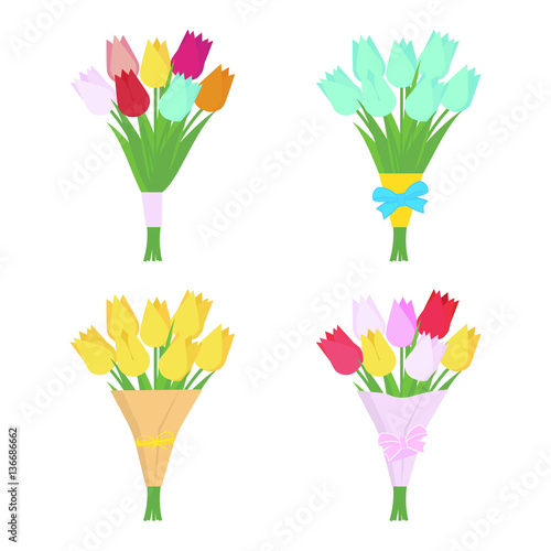 Set of tulip flowers bouquets isolated on white background. Flower arrangement. Vector illustration.