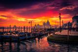 Scenic sunset in Venice, Italy. Postcard of Venice.