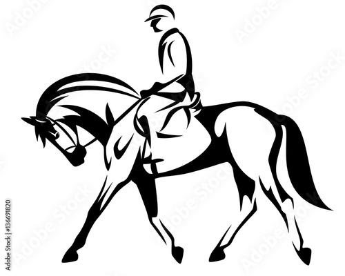 horse rider black and white vector design