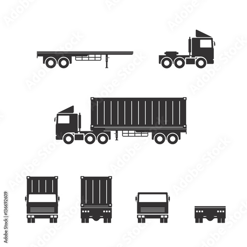 Vector of truck trailer with container  isolated on white background.