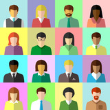 Flat avatar set of diverse business people