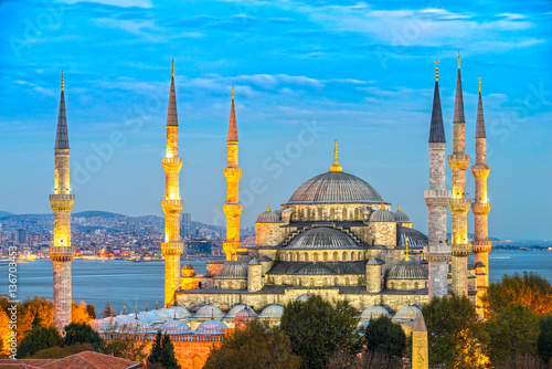 Poster The Blue Mosque, (Sultanahmet Camii), Istanbul, Turkey.
