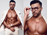 Elegant fit brutal man model in a light suit and glasses