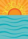 Vector summer background. Sea and sun on flat design
