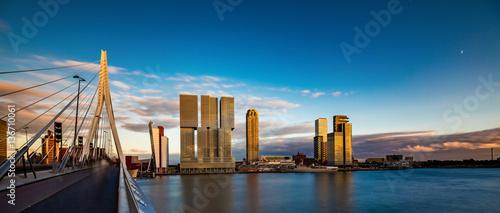 Fotobehang Rotterdam Erasmus Brücke, Rotterdam, Holland, Niederlande