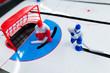 Table hockey game close up shot