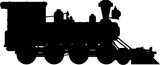 Cartoon Wild West Style Steam Train Silhouette