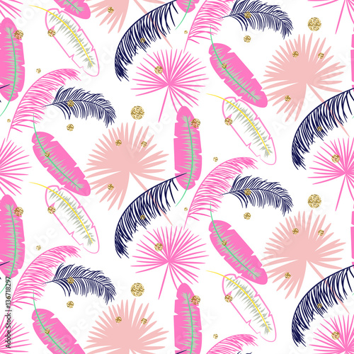 Pink banana palm leaves seamless vector pattern on white background. Tropical banana jungle leaf with glitter dots. - 136718297