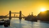 Abstract picture of Tower bridge landmark at sunrise, London, United Kingdom - 136719244