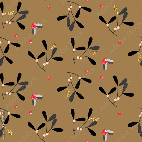 Cotton fabric Mistletoe leaves seamless vector pattern. Christmas decor black and gold background.