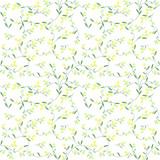 Pattern fiorellini gialli e verdi su sfondo bianco