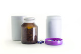 Plastic and glass container with medical pills