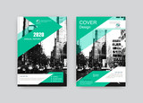 Creative book cover design. Abstract composition with black and white city street image. Set of A4 brochure title sheet. Green and white colored geometric shapes. Interesting vector illustration.