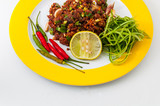 Top view to thai pork spicy salad