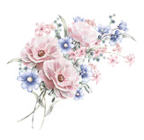 watercolor flowers. floral illustration in Pastel colors  rose. bunch of pink, blue flowers isolated on white background. herbs, Leaf. Cute composition for wedding or greeting card. romantic bouquet - 136729241