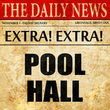 pool hall, article text in newspaper