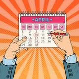 Fototapety Pop Art Businessman Hand Planning Calendar Date. Vector illustration