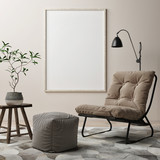 Blank poster, armchair in living room, 3d render