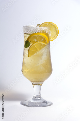 lemon cocktail composition on isolated white texture Poster
