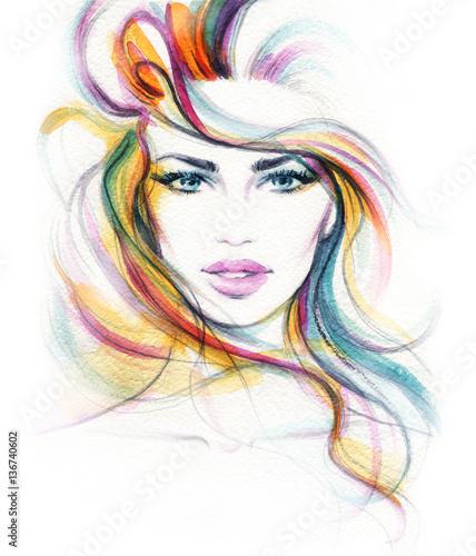 Fotobehang Anna I. Woman face. Fashion illustration. Watercolor painting