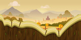 Farm game background 2d application. design. Tileable horizontally. Size 1024x512. Ready for parallax effect