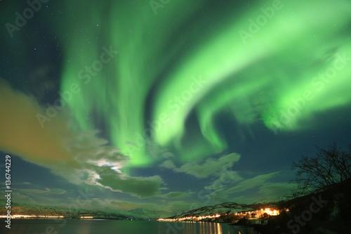 Aluminium Noorderlicht Northern lights, Aurora Borealis, Nordlicht, Polarlicht, Norwegen, Schweden, Finnland, Island
