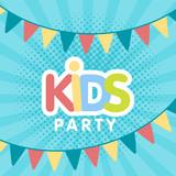 Kids party letter sign poster vector illustration