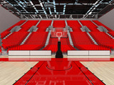 3D render of beautiful modern sports arena for basketball with red seats