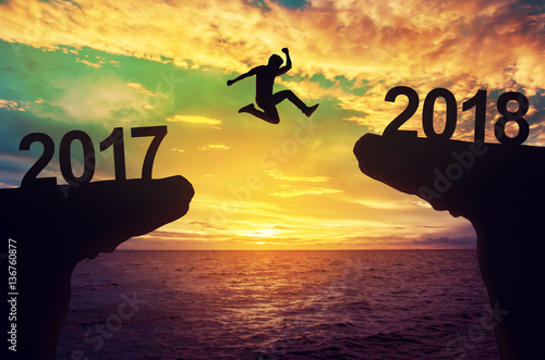 A man jump between 2017 and 2018 years. Poster