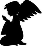 Angel with Wings Praying in Silhouette