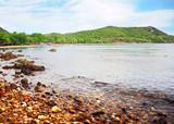 Coast line with stone of island