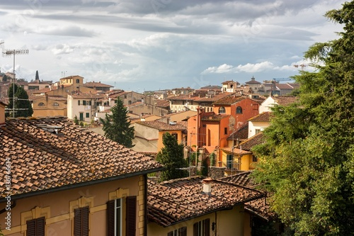 Poster VIEW OF HISTORIC HOUSES IN FLORENCE, ITALY