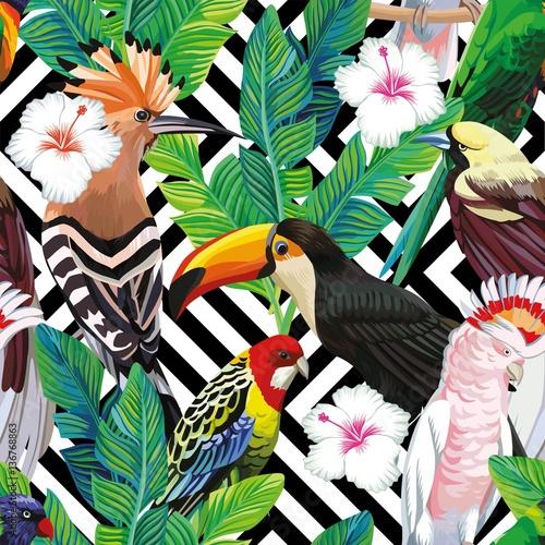 tropical bird leaves seamless geometric background